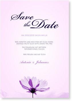Save the Date Karten, Zarte Blume in Lila