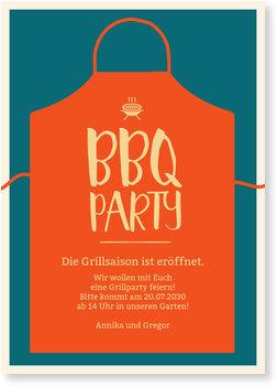 Einladungskarten Party, BBQ Schürze