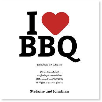 Einladungskarten Sommerfest, I love BBQ