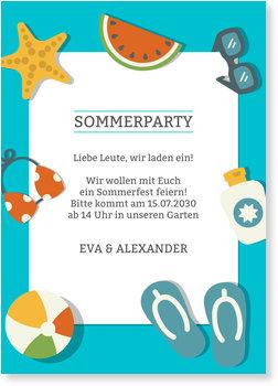 Einladungskarten Sommerfest, Sommerutensilien