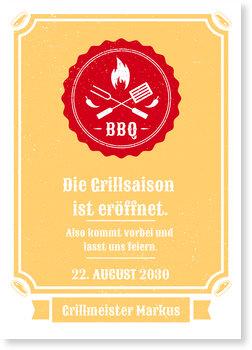 Einladungskarten Sommerfest, Vintage BBQ