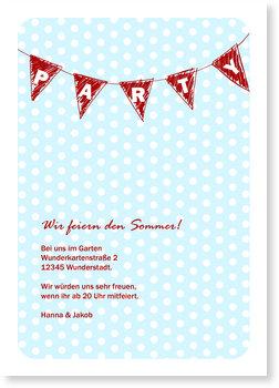Einladungskarten Sommerfest, Wimpelkette - Tuerkisrot