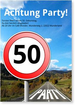 Einladungskarten Geburtstag, Straßenschild