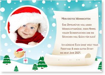 Weihnachtskarten Baby, Süße Schneepost