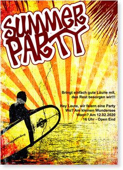 Einladungskarten Sommerfest, Summer Party Surfer