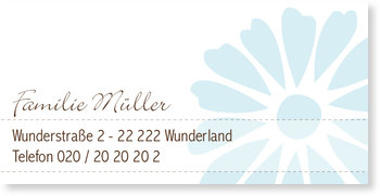 Adressaufkleber Baby, Adressaufkleber - Taufe Gerbera - Hellblau