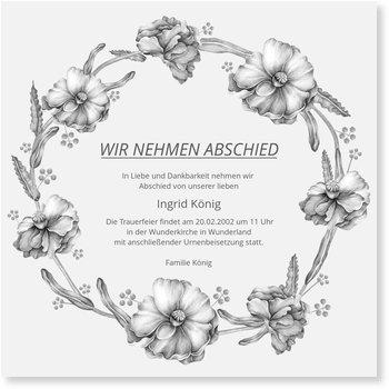 Traueranzeigen online selbst gestalten, Blumenkranz