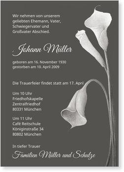Traueranzeigen online selbst gestalten, Trauerkarte mit Calla-Pflanze