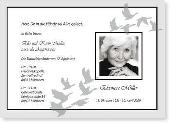 Traueranzeigen online selbst gestalten, Trauerkarte mit grauen Vögeln