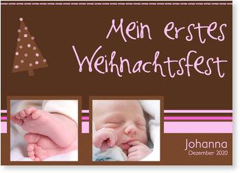 Weihnachtskarten Baby, Erstes Weihnachtsfest - Streifen Rosa