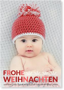 Weihnachtskarten Baby, Schneeflockenzierde