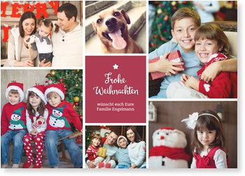 Aktuelle Weihnachtskarten, Bildreich in dunkelrot