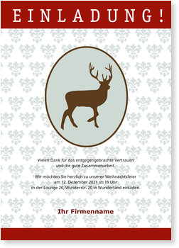 Einladung Weihnachtsfeier, Einladung Rentier