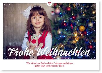 Aktuelle Weihnachtskarten, Herz und Schnee