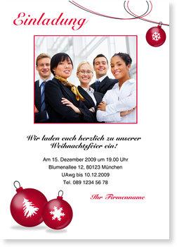 Einladung Weihnachtsfeier, Rote Weihnachtskugeln mit Foto