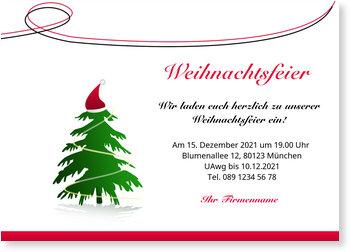 Einladung Weihnachtsfeier, Weihnachtsbaum mit Mütze