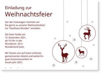 Einladung Weihnachtsfeier, Christbaumschmuck