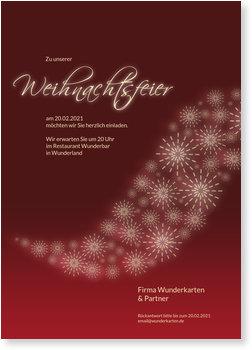 Einladung Weihnachtsfeier, Weihnachtsflügel auf Rot