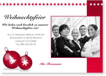Einladung Weihnachtsfeier, Rote Weihnachtskugeln mit Sternenbordüre