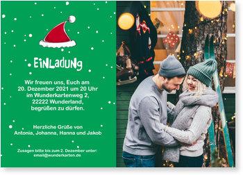 Einladung Weihnachtsfeier, Weihnachtsmütze