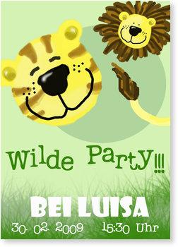 Einladungskarten Kindergeburtstag, Wilde Party für Mädchen