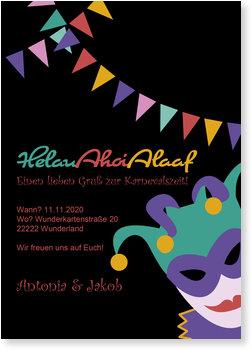 Einladungskarten Karneval und Fasching, Helau Ahoi Alaaf