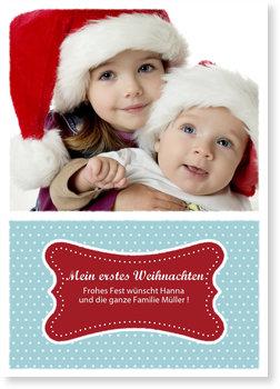 Weihnachtskarten Baby, Wir feiern Weihnachten