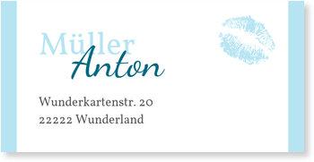 Adressaufkleber Baby, Zarter Knutscher in Hellblau