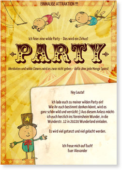 Einladungskarten Party, Zirkus Party