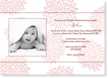 Christening Invitations – personalise with pictures, Blossom in Pink