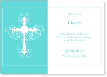 Danksagungskarten Konfirmation, Ornamentkreuz