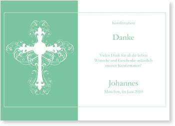 Danksagungskarten Konfirmation, Ornamentkreuzin Mintgrün