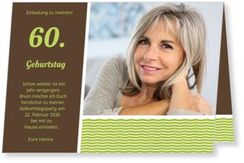 Einladungskarten 60. Geburtstag, Stilvolle Einladung