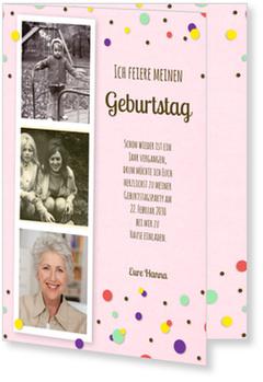 Einladungskarten 70. Geburtstag, Konfetti in Rosa