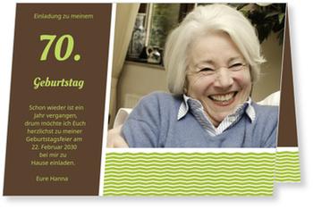 Einladungskarten 70. Geburtstag, Stilvolle Einladung