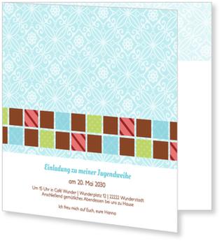 Einladungskarten Jugendweihe, Kleine bunte Quadrate