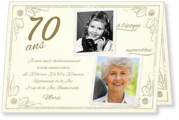 Vintage Invitation Anniversaire 70 ans à personnaliser | bonnyprints.fr