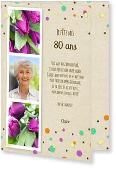 Confetti Invitations Anniversaire 80 Ans Personnalisables