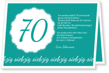 elegante einladung zum siebzigsten einladungskarten 70. Black Bedroom Furniture Sets. Home Design Ideas