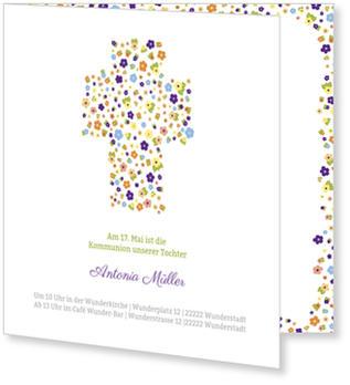 Einladungskarten Kommunion, Blumenkreuz zur Kommunion