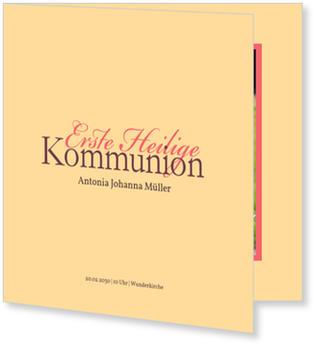 Einladungskarten Kommunion, Elegante Kommunionseinladung in Beige