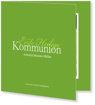 Einladungskarten Kommunion, Elegante Kommunionseinladung in Grün