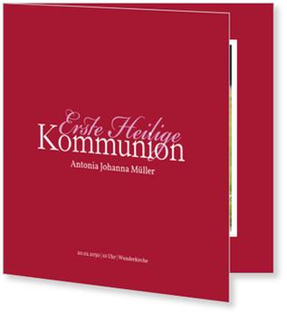 Einladungskarten Kommunion, Elegante Kommunionseinladung in Rot