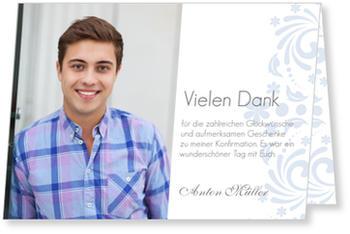 Danksagungskarten Konfirmation, Danke zur Eleganten Einladung in Blau
