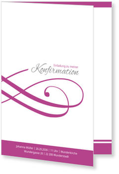 Einladungskarten Konfirmation, Schleife in Fuchsia