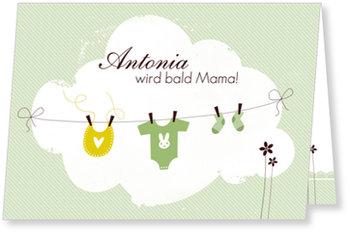 Einladungskarten Babyparty, Wäscheleine - Grün