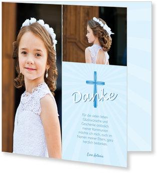 Danksagungskarten Kommunion, Heiliges Kreuz in Blau