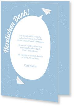 Danksagungskarten Kommunion, Papierflieger in Blau