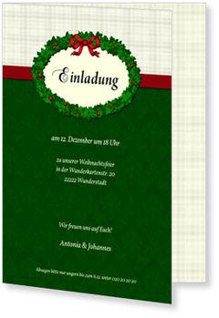 Einladung Weihnachtsfeier, Einladung - Weihnachtskranz