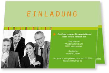 Einladungskarten geschäftlich, Einladung - Grün mit Foto